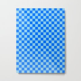 Baby Blue and Brandeis Blue Checkerboard Metal Print