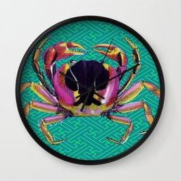 Lucky Aqua Crab Auspicious Sayagata Pattern Wall Clock