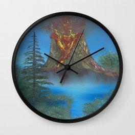 Erupting volcano Wall Clock