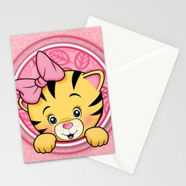 peek a boo baby tiger girl Stationery Cards