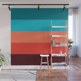 Exotic bright colorful Bohemian Chic teal burgundy Turquoise Orange Stripes Wall Mural