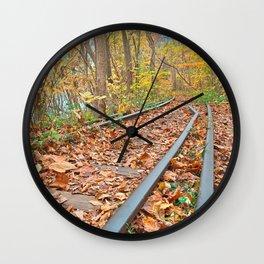 Abandoned Autumn Railroad Wall Clock