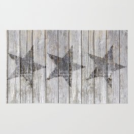 Grunge Star on old weathered grey wood Rug