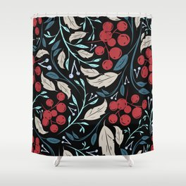Holiday Holly and Mistletoe Pattern Shower Curtain