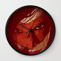 sister Wall Clocks featuring Sister Hazard by Matthew Dunn