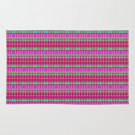 Aztec Tribal Motif Pattern in Pink, Lime and Fuchsia Rug