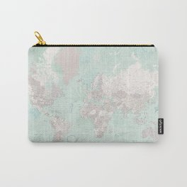 """Detailed world map with coral, seaweed and marine creatures, """"Lenore"""" Carry-All Pouch"""