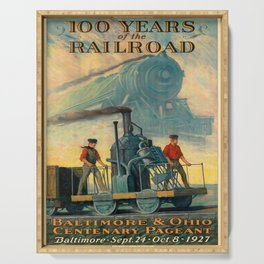 100 years of the railroad baltimore & ohio centenary pageant. 1927 oude poster Serving Tray
