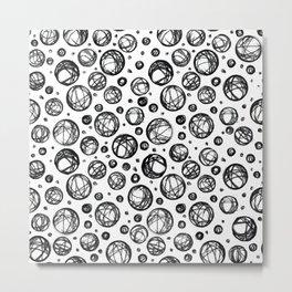 Sketchy Balls Pattern Metal Print