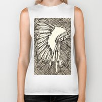 headdress Biker Tanks featuring Headdress Sketch by sonja530