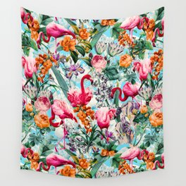 Floral and Flamingo VII pattern Wall Tapestry