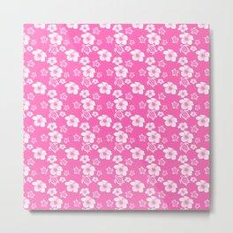 Pink Hibiscus Honu Hawaiian Pattern Metal Print