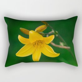 Blossoming Golden Yellow Lily on Green Background Rectangular Pillow