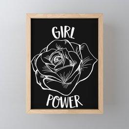 Girl Power Rose design Cool Woman Feminist Movement Gift Framed Mini Art Print