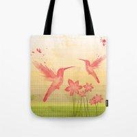 hummingbird Tote Bags featuring Hummingbird by Kakel