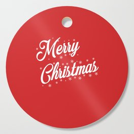 Merry Christmas with Snow Flakes on Red Background Cutting Board