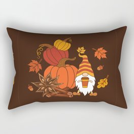 Pumpkins, star anise, cinnamon sticks, autumn leaves and gnome with a cup of pumpkin spice drink. Holiday card. Vintage fall design.  Rectangular Pillow