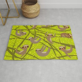 pattern funny and cute smiling Three-toed sloth on green branch tree creeper Rug