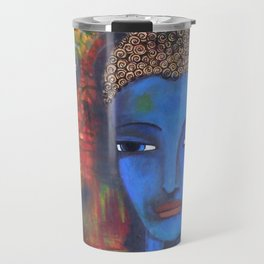 Buddha in blue shades, Zen like asian Buddha Travel Mug