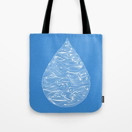 Water Drop – White Ink on Blue Tote Bag