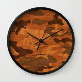 Modern Woodgrain Camouflage / Woodland Print Wall Clock