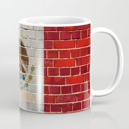 Mexico flag on a brick wall Coffee Mug