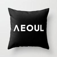seoul Throw Pillows featuring Seoul [Hangul] by egoista