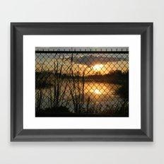 Fenced Sunrise Framed Art Print
