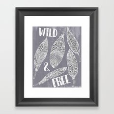 Wild & Free Feathers. White & Grey Edition 2 Framed Art Print
