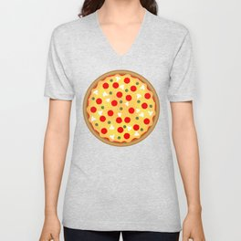 Cool fun pizza pepperoni mushroom Unisex V-Neck