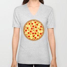 Cool fun pizza pepperoni mushroom Unisex V-Neck