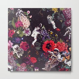 Flowers and Astronauts Metal Print