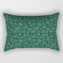 Silhouettes of ginkgo leaves on dark background Rectangular Pillow