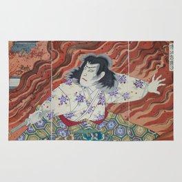Toyohara Kunichikia - 1894 Japanese Print - Sword-Holder Among Flames Rug
