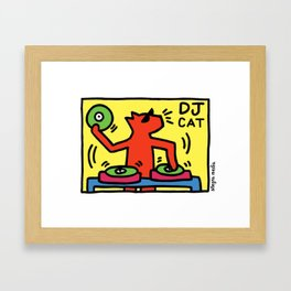 DJ Cat Framed Art Print