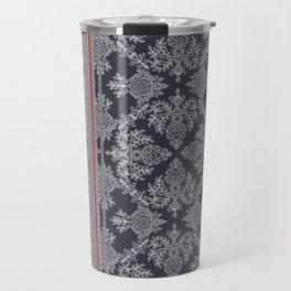 Burgundy, Pink, Navy & Grey Vintage Bohemian Wallpaper Travel Mug