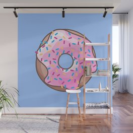 Pink Strawberry Donut Wall Mural