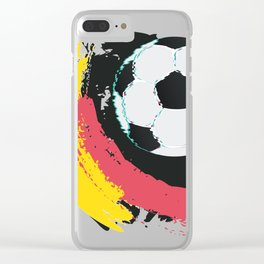 Football ball and red, yellow strokes Clear iPhone Case