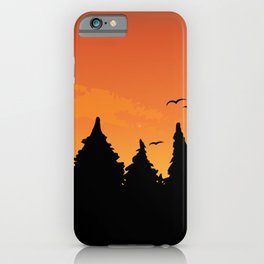 Orange sunset in the black forest iPhone Case