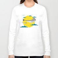 the whale Long Sleeve T-shirts featuring WHALE by mark ashkenazi