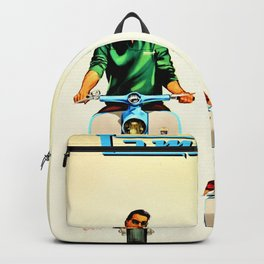 Vintage Lambretta Motor Scooter 'Security' Advertisement Poster Backpack