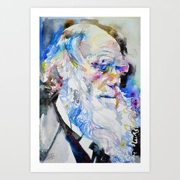 CHARLES DARWIN  - watercolor portrait.2 Art Print