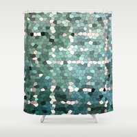 emerald Shower Curtains featuring Emerald  by ixbalanque