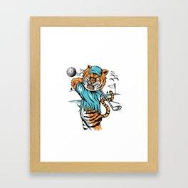 Tiger golfer WITH cap Framed Art Print