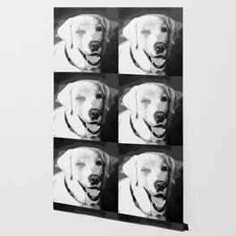 labrador retriever dog winking vector art black white Wallpaper