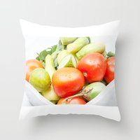 vegetables Throw Pillows featuring vegetables by Marcel Derweduwen