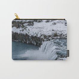 Waterfall in Icelandic highlands during winter with mountain - Landscape Photography Carry-All Pouch