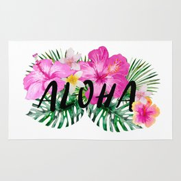 ALOHA - Tropical Flowers, Palm Leaves and Typography Rug