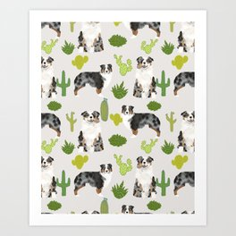 Australian Shepherd owners dog breed cute herding dogs aussie dogs animal pet portrait cactus Kunstdrucke