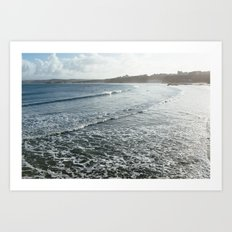 Sunrise Surfers, Newquay, Cornwall Art Print